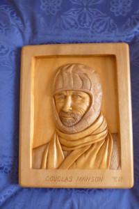 Relief carving of Douglas Mawson